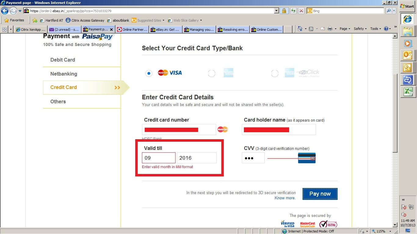 Found one bug - Credit card expiry date month MM f ...